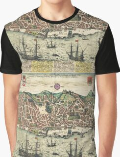 Lisbon2 Vintage map.Geography Portugal ,city view,building,political,Lithography,historical fashion,geo design,Cartography,Country,Science,history,urban Graphic T-Shirt