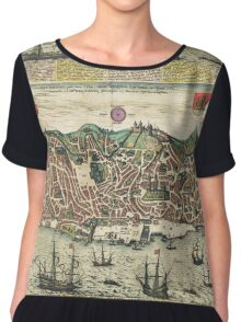 Lisbon2 Vintage map.Geography Portugal ,city view,building,political,Lithography,historical fashion,geo design,Cartography,Country,Science,history,urban Chiffon Top