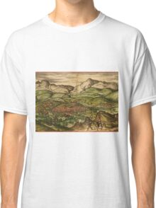 Loja Vintage map.Geography Spain ,city view,building,political,Lithography,historical fashion,geo design,Cartography,Country,Science,history,urban Classic T-Shirt