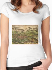 Loja Vintage map.Geography Spain ,city view,building,political,Lithography,historical fashion,geo design,Cartography,Country,Science,history,urban Women's Fitted Scoop T-Shirt