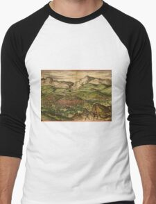 Loja Vintage map.Geography Spain ,city view,building,political,Lithography,historical fashion,geo design,Cartography,Country,Science,history,urban Men's Baseball ¾ T-Shirt