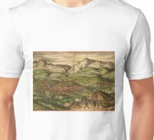 Loja Vintage map.Geography Spain ,city view,building,political,Lithography,historical fashion,geo design,Cartography,Country,Science,history,urban Unisex T-Shirt