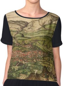 Loja Vintage map.Geography Spain ,city view,building,political,Lithography,historical fashion,geo design,Cartography,Country,Science,history,urban Chiffon Top
