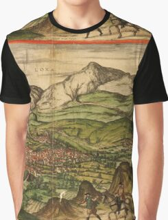 Loja Vintage map.Geography Spain ,city view,building,political,Lithography,historical fashion,geo design,Cartography,Country,Science,history,urban Graphic T-Shirt