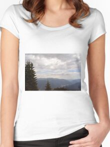Natural scenery with mountains and cloudy sky. Women's Fitted Scoop T-Shirt