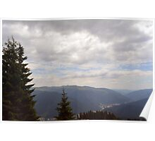 Natural scenery with mountains and cloudy sky. Poster