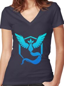 Team Mystic Pokemon Go gradient articuno no text Women's Fitted V-Neck T-Shirt