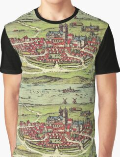 Lund Vintage map.Geography Sweden ,city view,building,political,Lithography,historical fashion,geo design,Cartography,Country,Science,history,urban Graphic T-Shirt