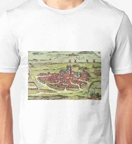 Lund Vintage map.Geography Sweden ,city view,building,political,Lithography,historical fashion,geo design,Cartography,Country,Science,history,urban Unisex T-Shirt
