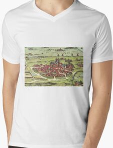Lund Vintage map.Geography Sweden ,city view,building,political,Lithography,historical fashion,geo design,Cartography,Country,Science,history,urban Mens V-Neck T-Shirt