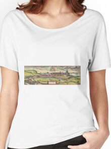 Loreto Vintage map.Geography Italy ,city view,building,political,Lithography,historical fashion,geo design,Cartography,Country,Science,history,urban Women's Relaxed Fit T-Shirt