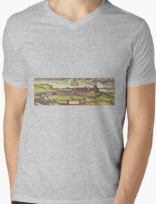 Loreto Vintage map.Geography Italy ,city view,building,political,Lithography,historical fashion,geo design,Cartography,Country,Science,history,urban Mens V-Neck T-Shirt