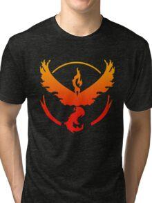 Team Valor Pokemon Go gradient moltres no text Tri-blend T-Shirt