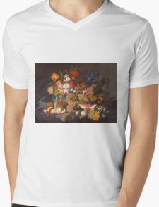 Severin Roesen - Still Life With Fruit 1850. Still life with fruits and vegetables: strawberries , champagne,, lemon , grapes , cherries, peaches, apples, pears, apricots, raspberries, vase Mens V-Neck T-Shirt