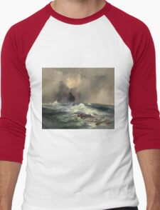 Thomas Moran - Fingal's Cave, Island Of Staffa, Scotland 1884. Sea landscape: sea view, Island,  Scotland, sailing boat, coast seaside, waves and beach, marine, seascape, sun clouds, nautical, ocean Men's Baseball ¾ T-Shirt