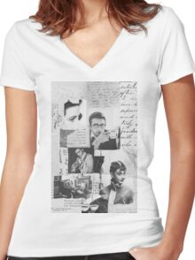 Creative Portrait Collage of 1950's Icons Women's Fitted V-Neck T-Shirt