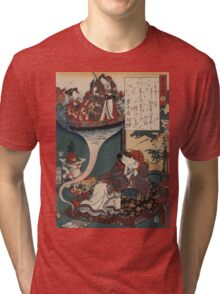 Utagawa Toyokuni - Dream Ukihashi. Woman portrait: sensual woman, geisha, kimono, courtesan, silk, beautiful dress, umbrella, wig, lady, exotic, beauty Tri-blend T-Shirt
