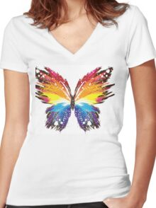 Butterfly Rainbow Women's Fitted V-Neck T-Shirt