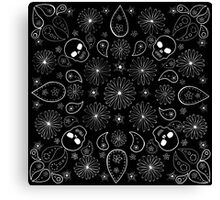 Skull, Daisy and Paisley inspired design Canvas Print