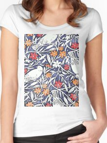 Blue Bird Freehand Sketch Watercolor Background Women's Fitted Scoop T-Shirt