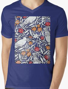 Blue Bird Freehand Sketch Watercolor Background Mens V-Neck T-Shirt