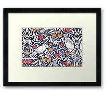 Blue Bird Freehand Sketch Watercolor Background Framed Print
