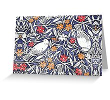 Blue Bird Freehand Sketch Watercolor Background Greeting Card