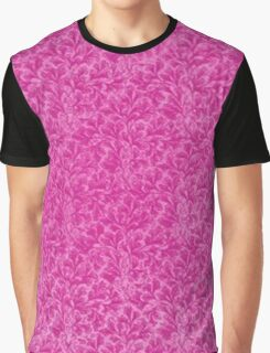 Vintage Floral Lace Leaf Hot Pink Graphic T-Shirt