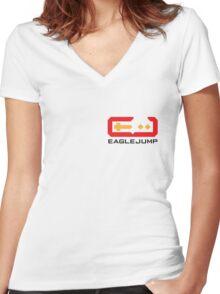 Eagle Jump - Black - Corner Print Women's Fitted V-Neck T-Shirt