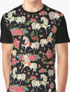 Dancing Horse with Red Rose Flower in Black Background Pattern Graphic T-Shirt