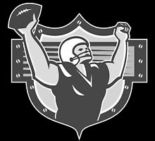 American Football Player Touchdown Grayscale by patrimonio