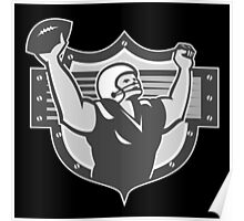 American Football Player Touchdown Grayscale Poster