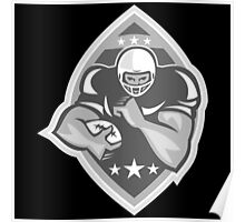 American Football Player Running Grayscale Poster