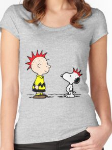 Snoopy and Charlie Brown Punk Women's Fitted Scoop T-Shirt