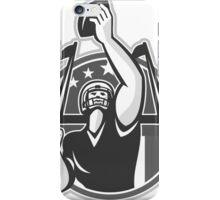 American Football Player Raising Ball Grayscale iPhone Case/Skin