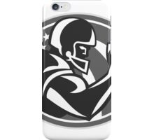 American Football Player Side View Grayscale iPhone Case/Skin