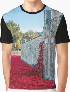 Cascading Poppies, Tower of London Graphic T-Shirt