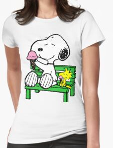 Snoopy and Woodstock Ice Cream Womens Fitted T-Shirt
