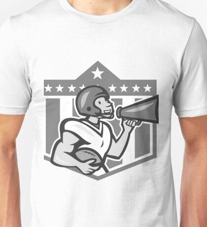 American Football Bullhorn Shield Grayscale Unisex T-Shirt