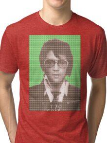 Elvis Mug Shot - Green Tri-blend T-Shirt