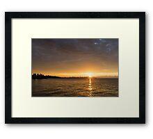 Toronto Skyline Sunrise - Golden Sunrays CN Tower Framed Print