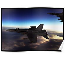 A pair of F-18 Super Hornets Poster