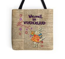 Rabbit Welcome To .. Alice In Wonderland Tote Bag