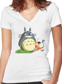 Totoro Pixels  Women's Fitted V-Neck T-Shirt