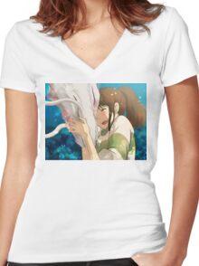 Dragon Haku and Chihiro Women's Fitted V-Neck T-Shirt