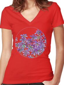 Purple Daisies in Watercolor & Colored Pencil  Women's Fitted V-Neck T-Shirt