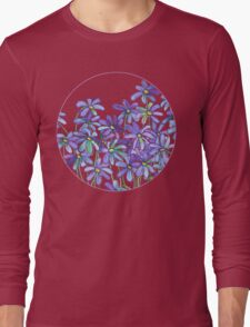 Purple Daisies in Watercolor & Colored Pencil  Long Sleeve T-Shirt