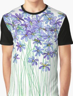 Purple Daisies in Watercolor & Colored Pencil  Graphic T-Shirt