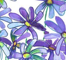 Purple Daisies in Watercolor & Colored Pencil  Sticker