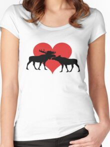 Moose Couple Women's Fitted Scoop T-Shirt